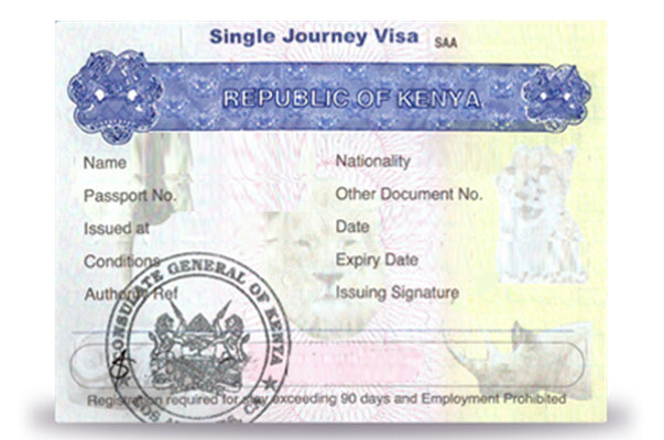 single entry visa sample