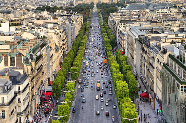 Champs Elysees aerial view