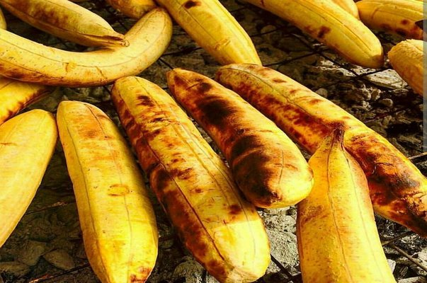 roasted plantain on a grill