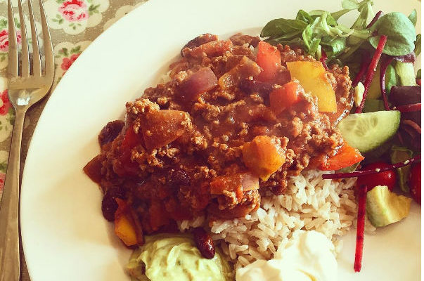 rice, stew, fruits and vegetables