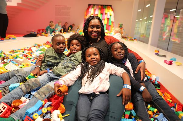 black mother with kids