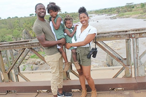 black family with two kids