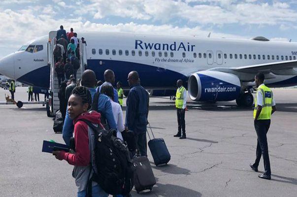 passengers boarding Rwandair flight